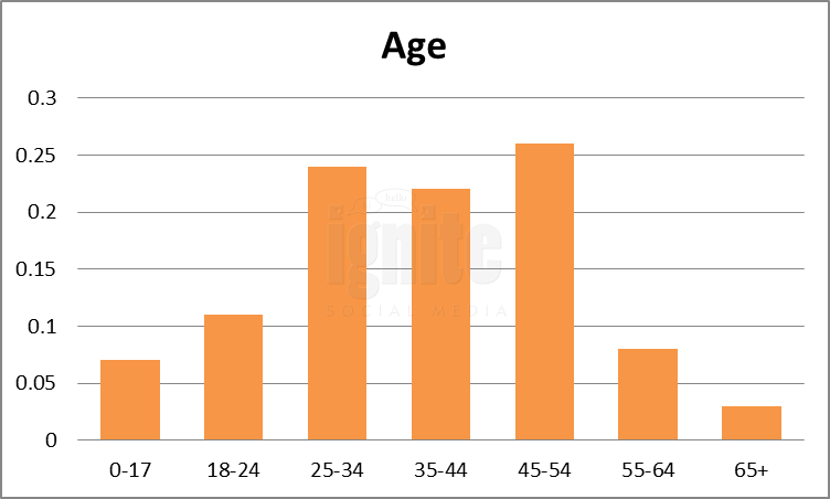 Age Breakdown For Facebook