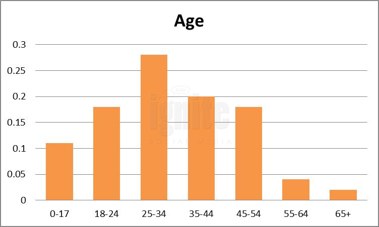 Age Breakdown For Myspace