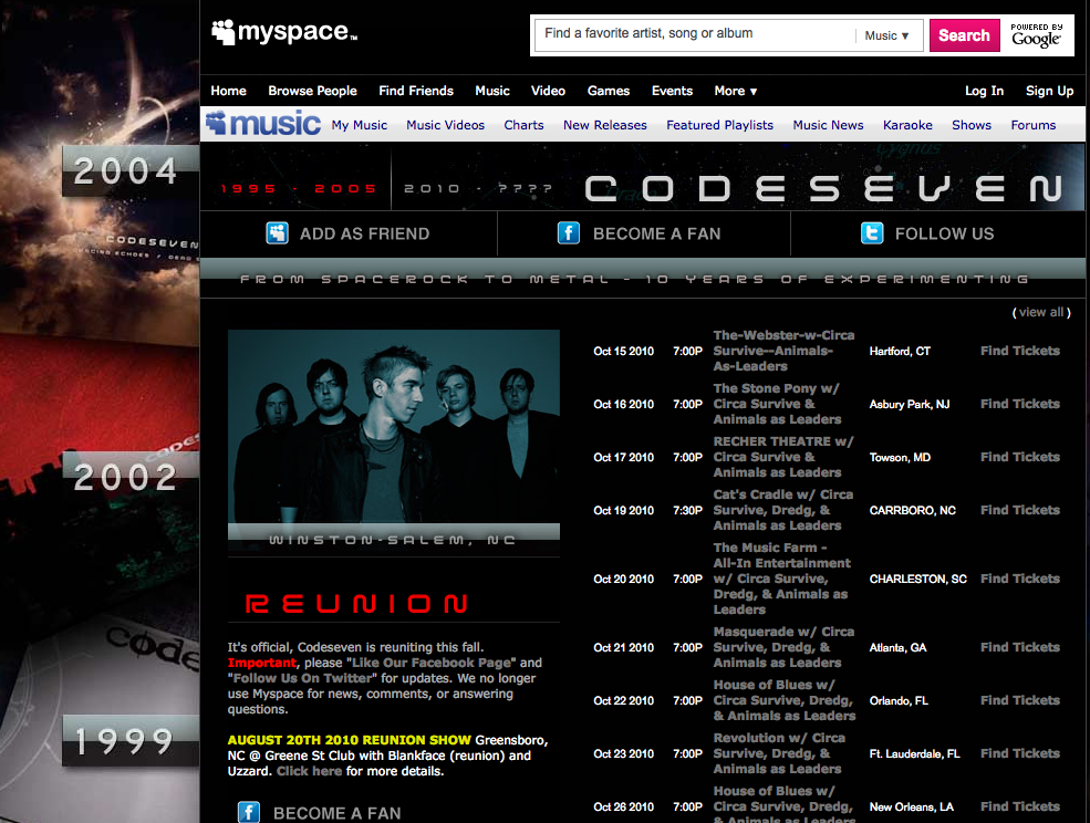 Codeseven Myspace Page